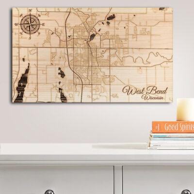 West Bend, Wisconsin Street Map, Wooden Wall Map, Laser Cut Wooden Sign