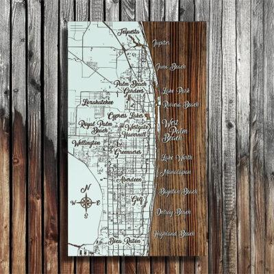 West Palm Beach Florida Map, Wooden Map, Wall Art, Nautical Home Decor, Beach Decor