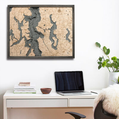 City of Seattle 3D Wood Map, Home Decor, Seattle Gift Ideas