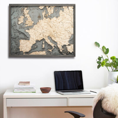 Western Europe Italy, England, Wooden Map, Nautical Home Decor