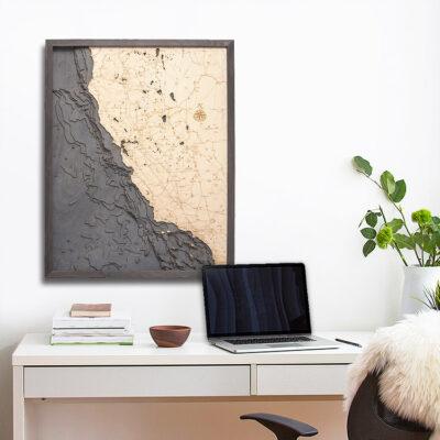 California Coast Wooden Map