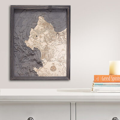 Carmel / Monterey Wooden Map, Nautical Decor, Wood Chart, Home Decor
