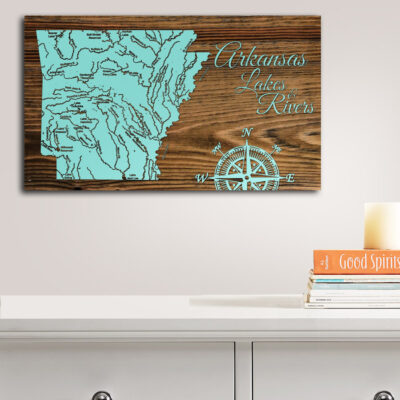 Arkansas Lakes and Rivers Wooden Map