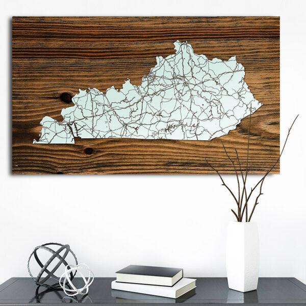 Kentucky Wooden Map