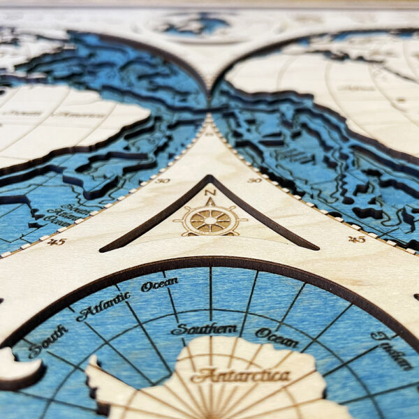 3D Wood Map of the World, Planet Earth Map, Home Decor, Wall Art, Laser Cut Map of Earth