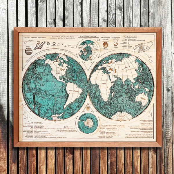 Wooden World Map in 3D - Cherry Frame