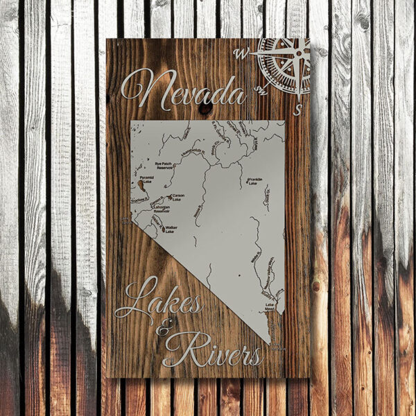 Map of Nevada Lakes and Rivers, Wood Map, Nevada Battle Born Sign