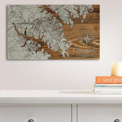 Annapolis Maryland Wood Map