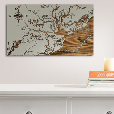 Charleston Carved Wood Map