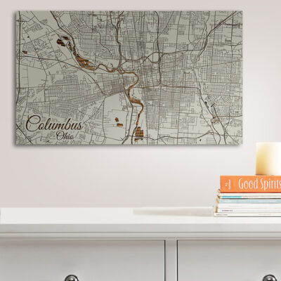 Columbus Wooden Wall Map