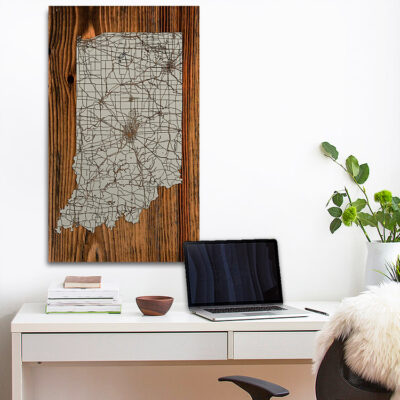 State of Indiana Carved Wood Map