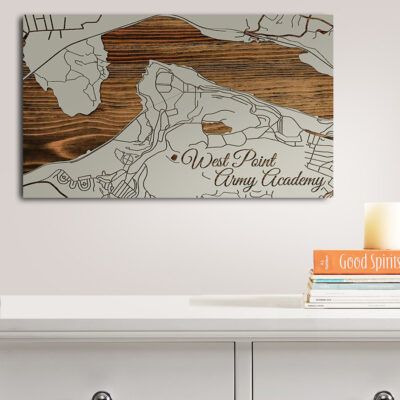 West Point New York Carved Wood Map