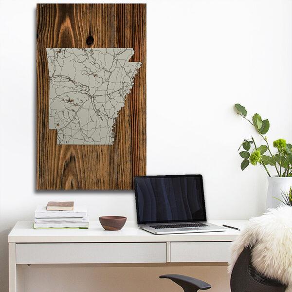 State of Arkansas Wood Map