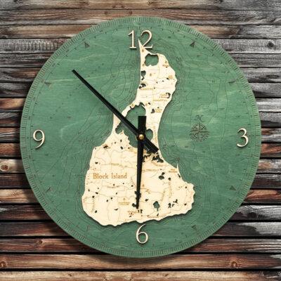 Block Island Rhode Island Nautical Wood Clock