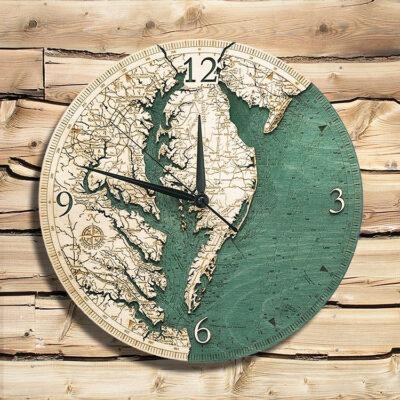 Chesapeake Bay Nautical Wood Clock