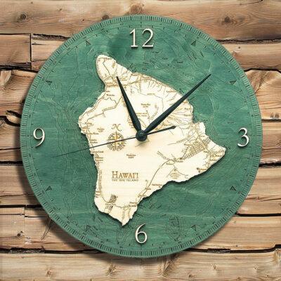 Hawaii Big Island Nautical Wood Clock