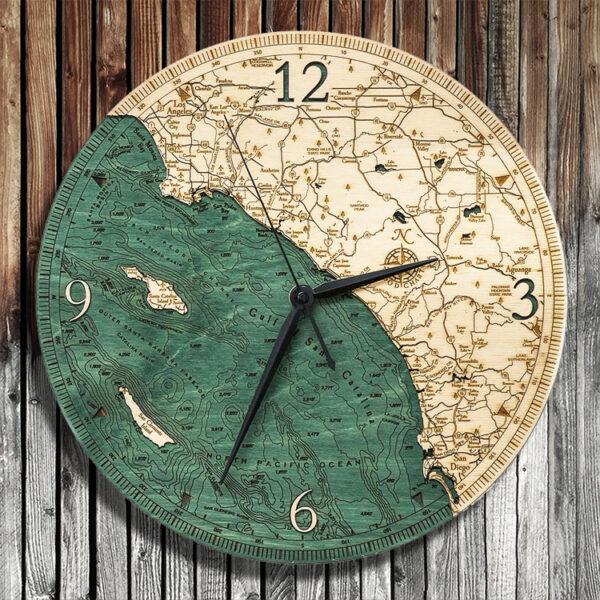 Los Angeles San Diego Nautical Wood Clock