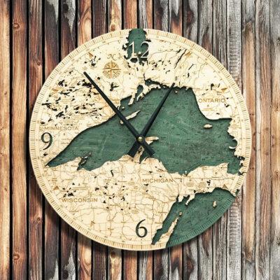 Lake Superior Nautical Wood Clock