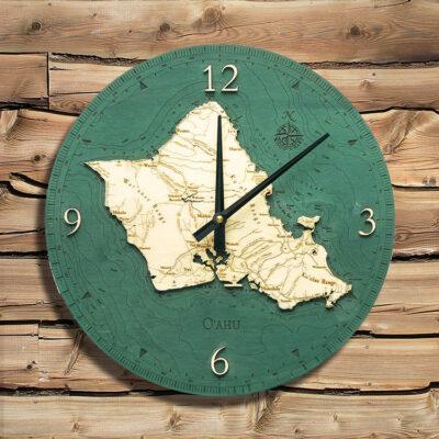 Oahu Nautical Wood Clock