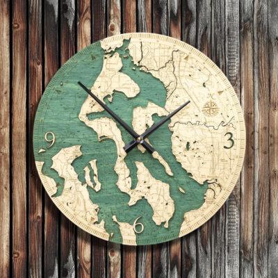 Whidbey Camano Island Nautical Wood Clock