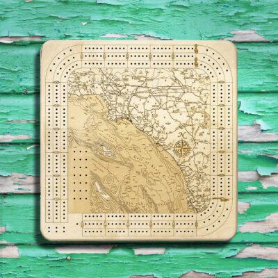 LA to San Diego Nautical Wood Cribbage Board