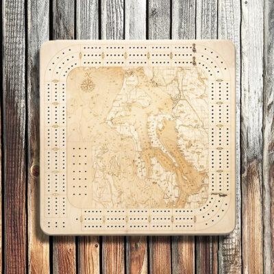 Whidbey Camano Nautical Wood Cribbage Board