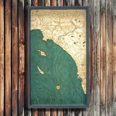 LA to San Diego Nautical Wood Serving Tray