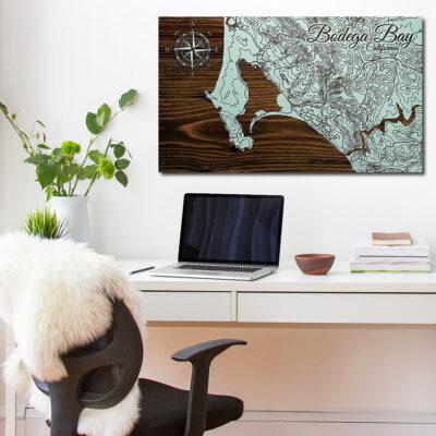 Bodega Bay Wooden Map Art