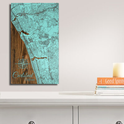 Carlsbad Carved Wood Map