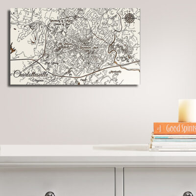 Charlottesville Virginia Carved Wood Map