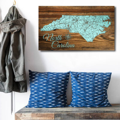 North Carolina Carved Wooden State Map