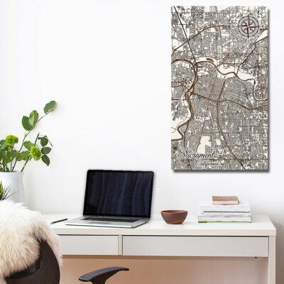 Sacramento Carved Wooden Art Map