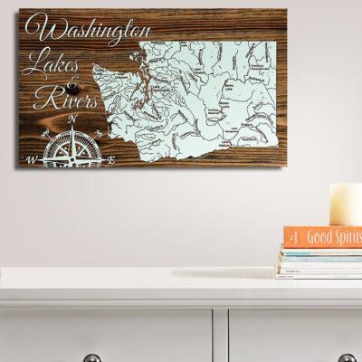 Washington Lakes Rivers Wood Map