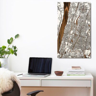 Yonkers New York Carved Wooden Street Art Map