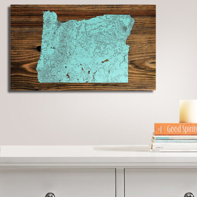 Oregon Wooden State Map