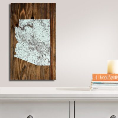 Arizona Carved Wooden State Map