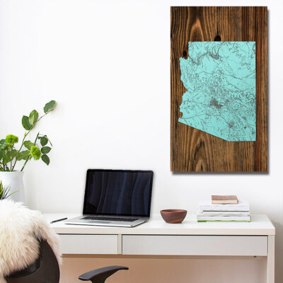 Arizona Wooden State Map