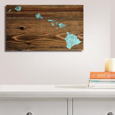 Hawaii Carved Wood Art Map