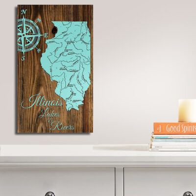 Illinois Lakes and Rivers Wood State Map