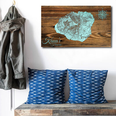 Kauai Hawaii Carved Wood Map