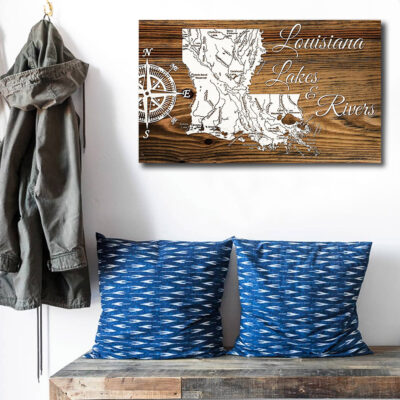 Louisiana Lakes and Rivers Carved Wood Map
