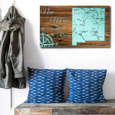 New Mexico Lakes and Rivers Carved Wood Map