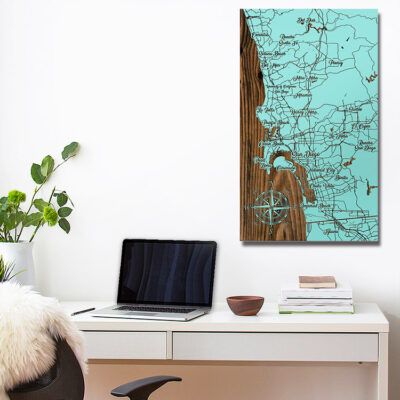 San Diego California Carved Wooden Map