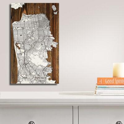San Francisco Carved Wood Street Art Map