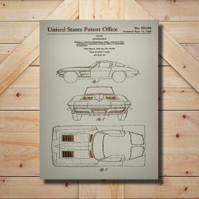 1962 Corvette Patent Carved Wooden Art Sign