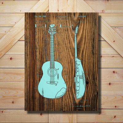 Acoustic Guitar Patent Art Wood Sign