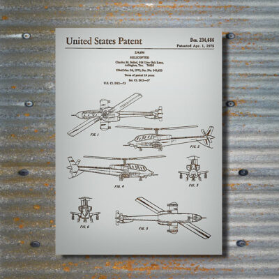 Apache Helicopter Patent Carved Wood Art Sign