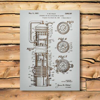 Alcohol Distiller Patent Wooden Bar Art Sign