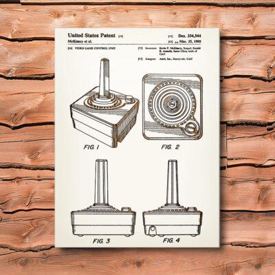 Atari Controller Patent Art Wood Sign