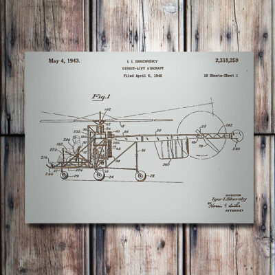 Direct Lift Helicopter Patent Wooden Aviation Art Sign